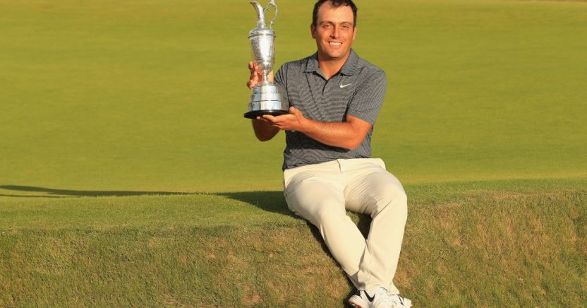 CARNOUSTIE, SCOTLAND - JULY 22:  Francesco Molinari of Italy celebrates with the Claret Jug after winning the 147th Open Championship at Carnoustie Golf Club on July 22, 2018 in Carnoustie, Scotland.  (Photo by Andrew Redington/Getty Images)