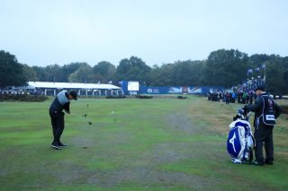 Pepperell plays to the 18th green at Walton Heath en route to winning the British Masters